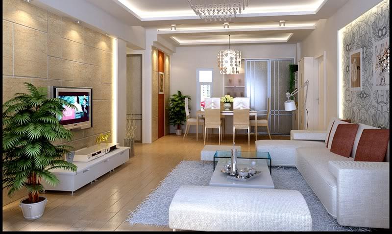 Thiết kế nội thất phòng khách bằng trần vách thạch cao