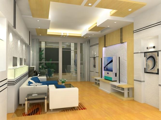 Vách thạch cao phong cách hiện đại phòng khách