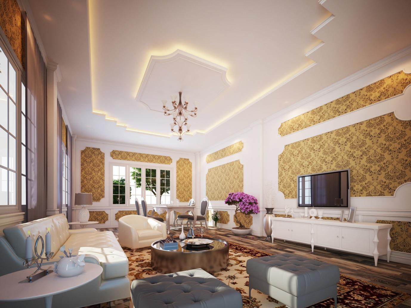 Mẫu trần thạch cao phòng khách đẹp 17