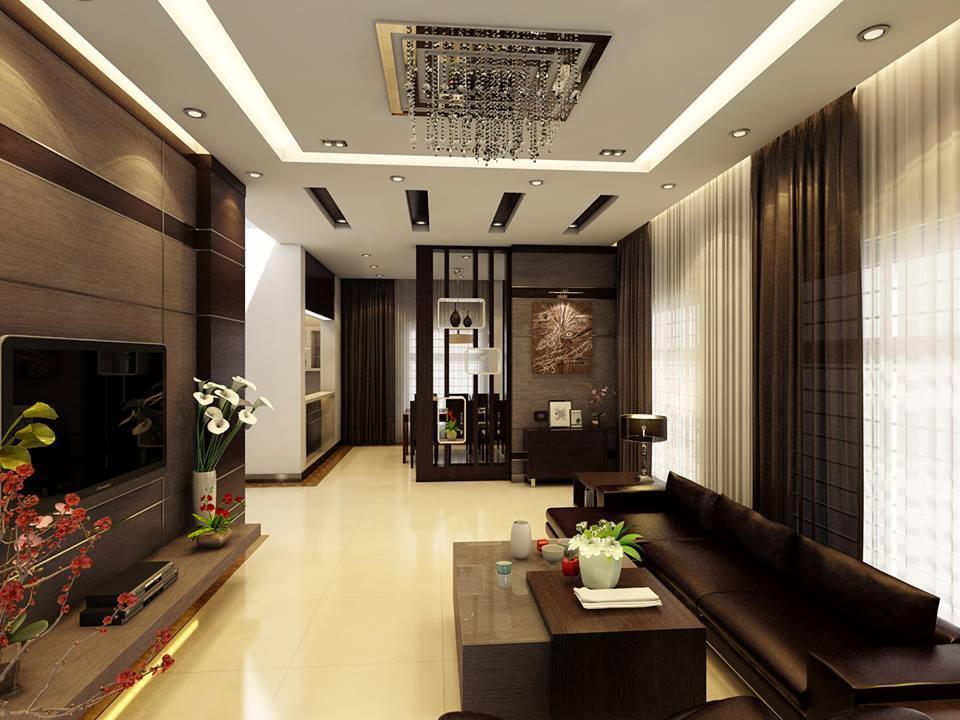 trần thạch cao phòng khách nhà ống 11