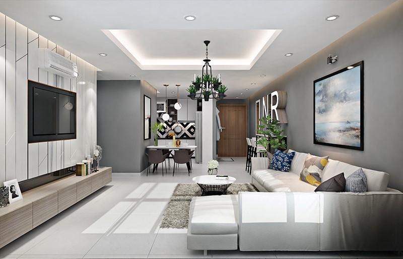 trần thạch cao phòng khách nhà ống 15