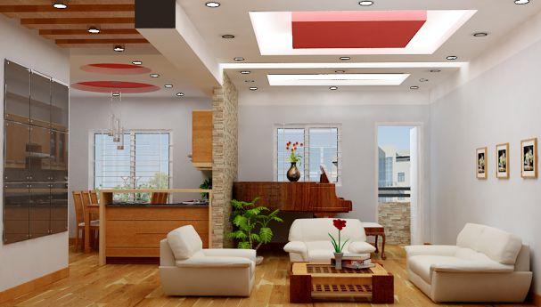 trần thạch cao phòng khách nhà ống 21