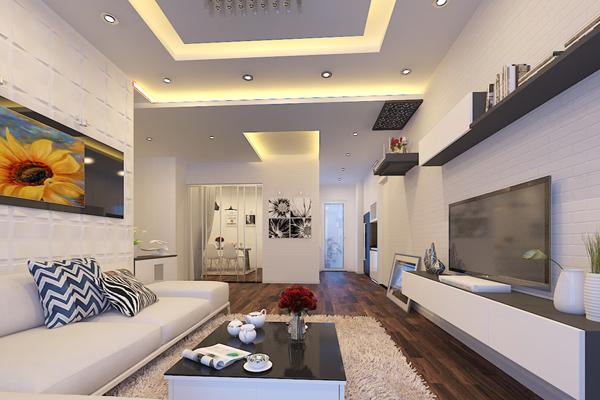 trần thạch cao phòng khách nhà ống 22