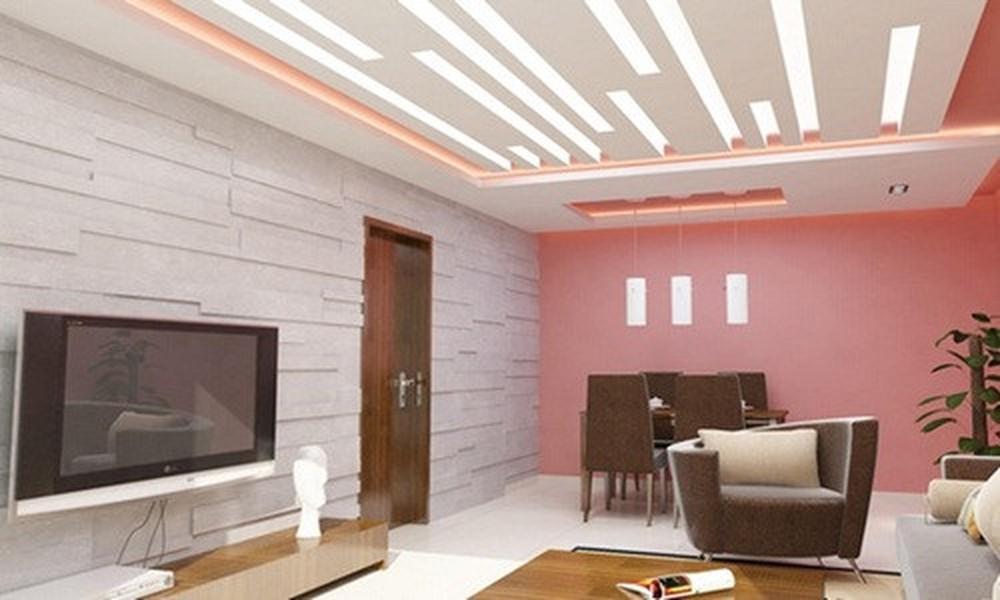 trần thạch cao phòng khách nhà ống 5