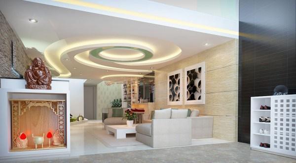 trần thạch cao phòng khách nhà ống 6